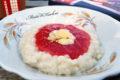 Pudding ryżowy z musem rabarbarowo-malinowym